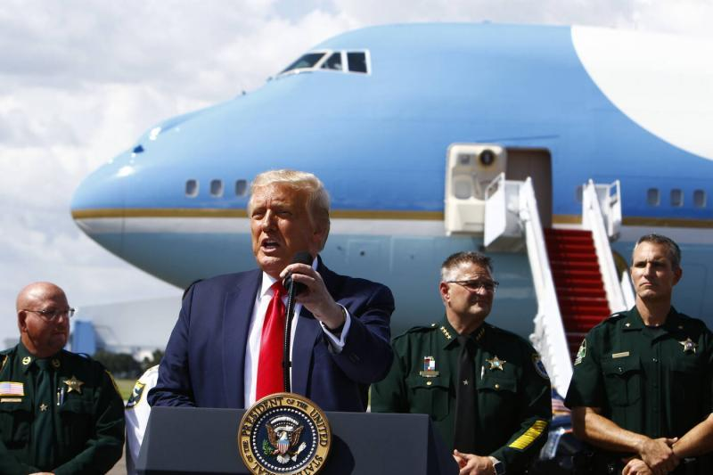 President Donald Trump speaks during a campaign rally at Tampa International Airport on July 31. Sheriff Chris Nocco was one of only two other speakers. LUIS SANTANA | Times