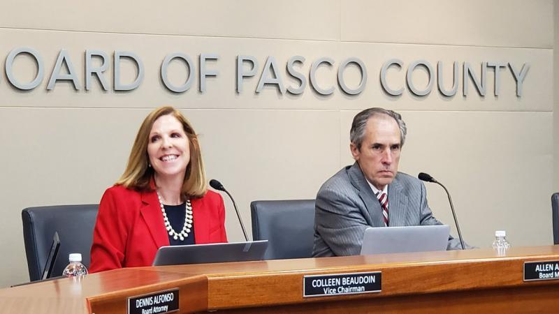 Pasco County School Board member Colleen Beaudoin and chairman Allen Altman at a meeting last year. [ JEFFREY S. SOLOCHEK | Times Staff ]