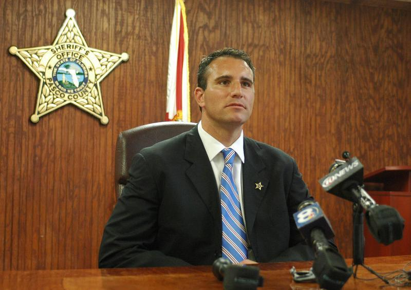 Chris Nocco speaks at a 2011 press conference after then Gov. Rick Scott appointed him sheriff of Pasco County. Times (2011)