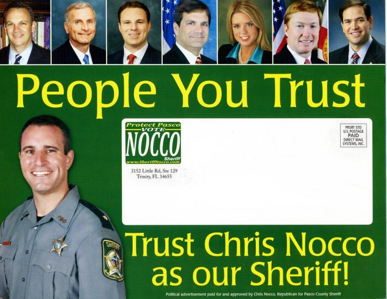 In Sheriff Chris Nocco's first election in 2012, many of Florida's most prominent politicians endorsed him.Times (2012)