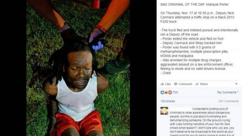 In one social media post in 2016, the Sheriff's Office posted a photo of a man crying while he was arrested. Critics said the agency was publicly mocking people before they had been convicted. Facebook