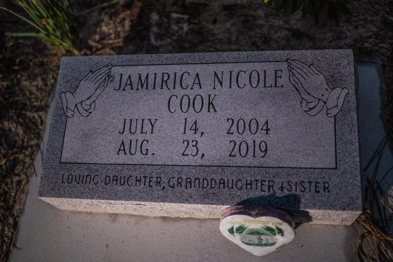 "The headstone for Jamirica ""Noonie"" Cook. ALICIA DEVINE/TALLAHASSEE DEMOCRAT"