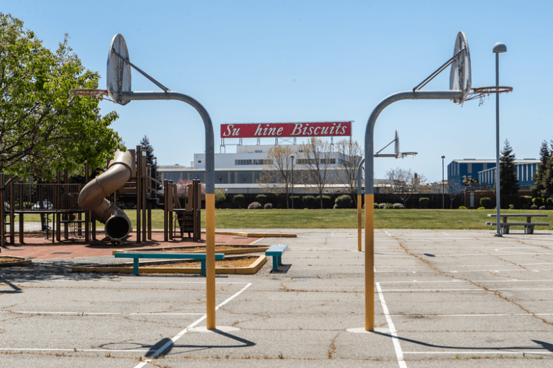 The Acorn Woodland Elementary school campus sits in a heavily industrial section of East Oakland. Credit: Amir Aziz