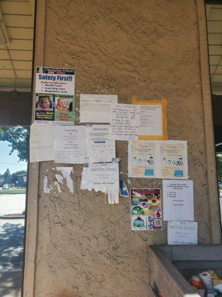 Flyers on the walls at Trithnethra on Pearl Ave.