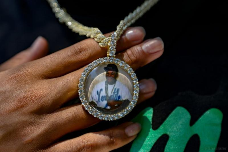 Trevon Bosley, who grew up in Roseland, wears a necklace in memory of his late brother, Terrell, who was fatally shot. Olivia Obineme for The Trace