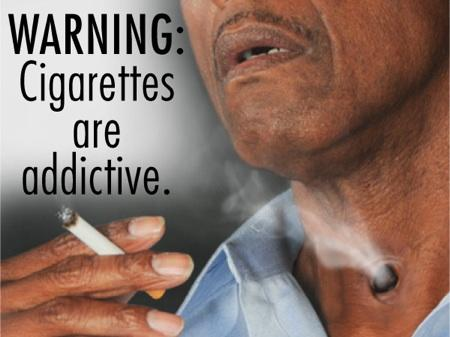 cigarette warning label, reporting on health, tracheotomy