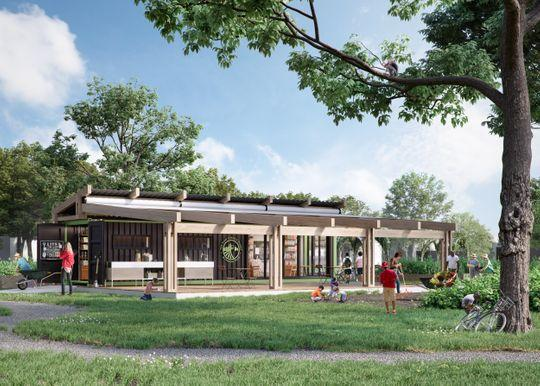 Rendering of a pavilion that the Food Literacy Project expects to open at its Iroquois Farm in spring 2019. (Photo: Courtesy of Food Literacy Project)
