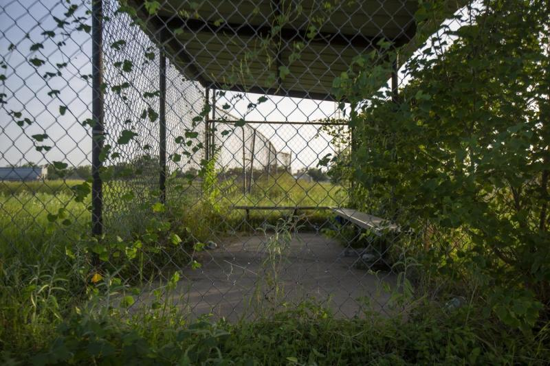 Vines grow up chain-link fence surrounding a littered dugout. Overgrown grass covers the baseball diamond.