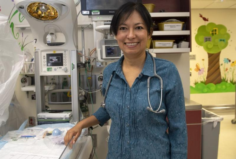 Dr. Lily Martorell-Bendezu, a neonatologist at Riverside University Health System Medical Center, works with drug-exposed babies. (Photo by Mindy Schauer, Orange County Register/SCNG)