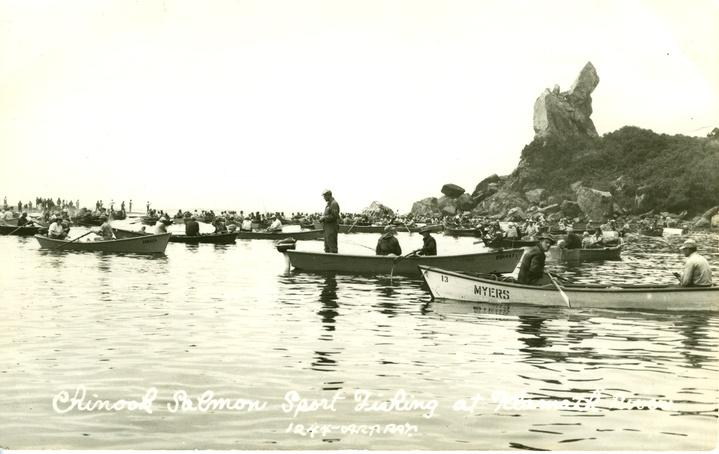 Recreational fishermen at the mouth of the Klamath River. Photo: Courtesy of the Del Norte County Historical Society