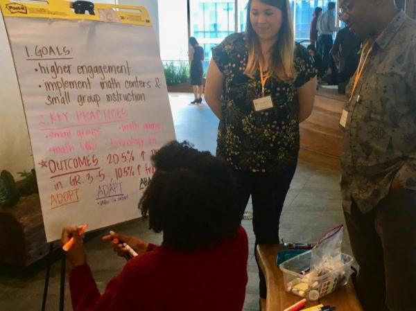 Educators from SFUSD's Dr. George Washington Carver Elementary School strategize about math instruction during a breakout session at Bayview Ignite. (CREDIT LEE ROMNEY / KALW)