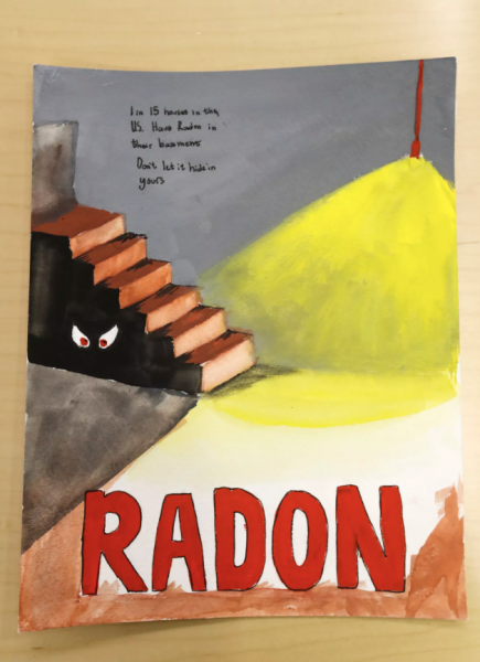 The winning poster from the 2020 National Radon Poster Contest was created by Utah's Emma Moore, an eighth grader from Olympus Junior High School, Granite School District. Her poster is photographed at the Utah Department of Environmental Quality offices in Salt Lake City on Monday, Dec. 16, 2019. (Steve Griffin, Deseret News)