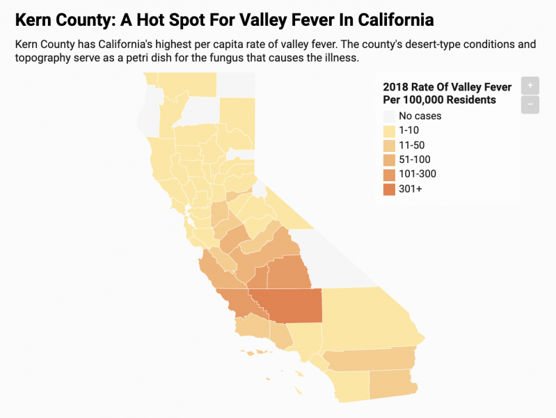 The California Department of Public Health releases a provisional monthly report on valley fever. This analysis is based on the January - November 2019 report that includes the number of confirmed, suspected, and probable cases of valley fever by county.  Credit: Harriet Blair Rowan/California Healthline Source: California Department of Public Health
