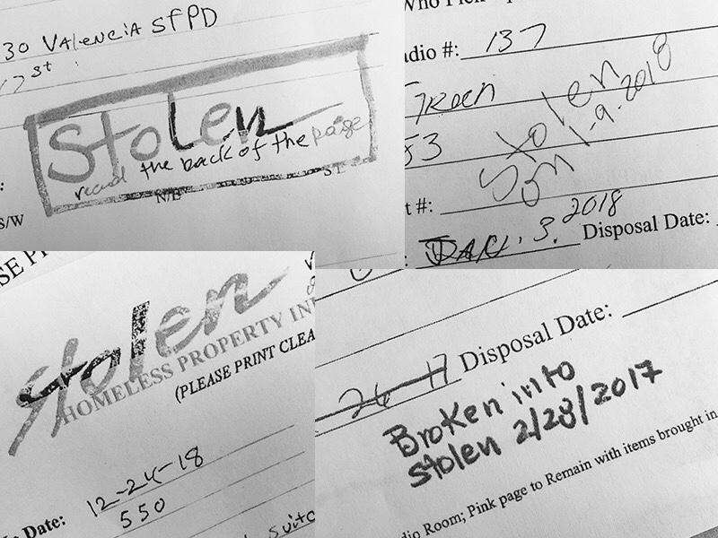 Just a few of Public Work's bag and tag forms stating that items had been stolen from the yard. (Image: SF Weekly)