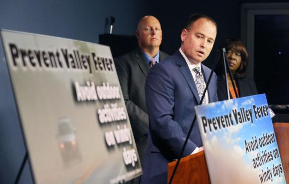 Matt Constantine, director of Public Health for Kern County, introduces a campaign to bring awareness to valley fever and releas