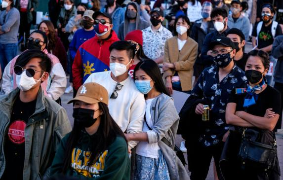 A rally against anti-Asian violence in Little Tokyo in Los Angeles on March 13.