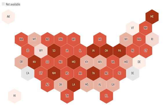 Most states spend less than $100 per person on public health.