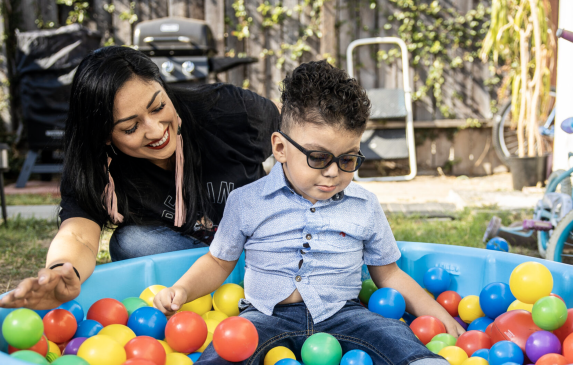 Melissa Alcala and her 3 year old son Gavin at their home in eastern Los Angeles in late August.