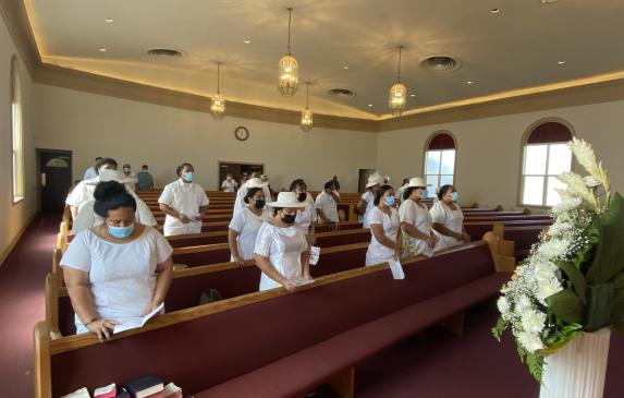 Members of the Fourth Samoan Congregational Christian Church of Long Beach worship on Sept. 5, 2021.