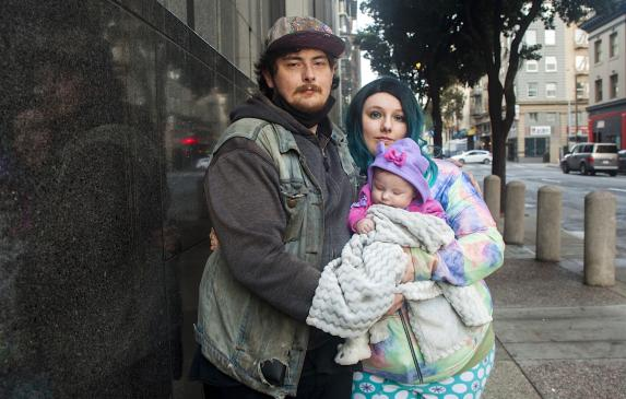 Nathan Caine, Cimber Sims, and their baby Nova are living in a shelter in the Tenderloin and received approval for permanent cit