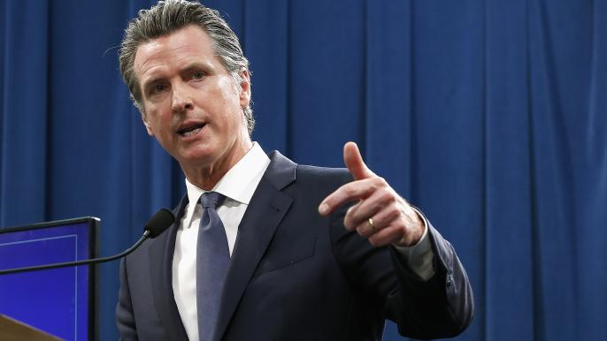 Gov. Gavin Newsom discusses his revised 2019-2020 state budget during a news conference Thursday, May 9, 2019 in Sacramento, CA